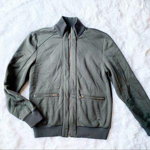 Zara Man Gray Bomber Varsity Jacket